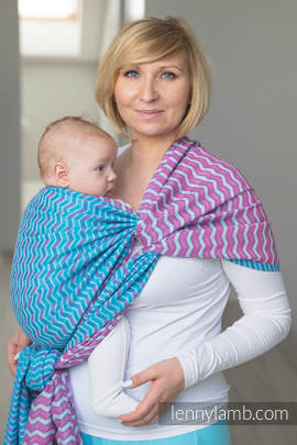 Baby Wrap, Jacquard Weave (100% cotton) - ZIGZAG TURQUOISE & PINK - size XL (grade B)