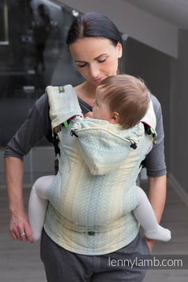 Ergonomic Carrier, Toddler Size, jacquard weave 100% cotton - wrap conversion from LITTLE LOVE - GOLDEN TULIP, Second Generation