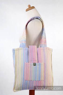 Torba na ramię z materiału chustowego, (60% bawełna czesana, 28% wełna merino, 8% jedwab, 4% kaszmir) - LITTLE LOVE - OLŚNIENIE - uniwersalny rozmiar 37cmx37cm