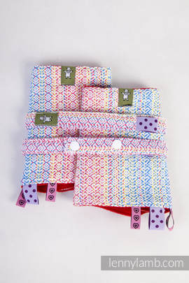 Drool Pads & Reach Straps Set, (60% combed cotton, 28% Merino wool, 8% silk, 4% cashmere) - LITTLE LOVE - DAZZLE (grade B)