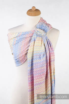 Ringsling, Jacquard Weave (60% combed cotton, 28% Merino wool, 8% silk, 4% cashmere), with gathered shoulder - LITTLE LOVE - DAZZLE