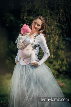 Nosidełko Ergonomiczne z tkaniny żakardowej 60% bawełna czesana, 28% wełna merino, 8% jedwab, 4% kaszmir, Baby Size, LITTLE LOVE - OLŚNIENIE, Druga Generacja