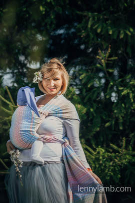 Baby Wrap, Jacquard Weave (60% combed cotton, 28% Merino wool, 8% silk, 4% cashmere) - LITTLE LOVE - DAZZLE - size L (grade B)