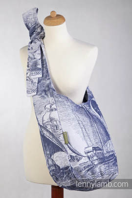 Hobo Bag made of woven fabric (100% cotton - GALLEONS NAVY BLUE & WHITE
