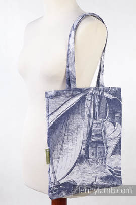 Shopping bag made of wrap fabric (100% cotton) - GALLEONS NAVY BLUE & WHITE