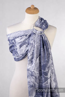 Ringsling, Jacquard Weave (100% cotton) - with gathered shoulder - GALLEONS NAVY BLUE & WHITE
