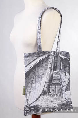 Shopping bag made of wrap fabric (100% cotton) - GALLEONS BLACK & WHITE