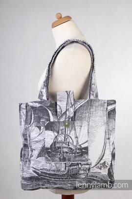 Torba na ramię z materiału chustowego, (100% bawełna) - GALEONY CZARNY Z BIELĄ- uniwersalny rozmiar 37cmx37cm