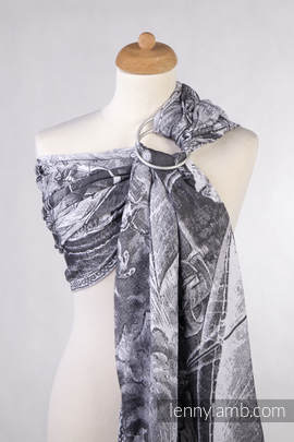 Ringsling, Jacquard Weave (100% cotton) - with gathered shoulder - GALLEONS BLACK  & WHITE (grade B)