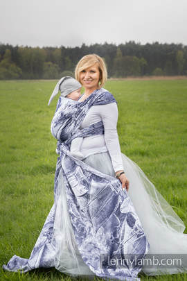 Baby Wrap, Jacquard Weave (100% cotton) - GALLEONS NAVY BLUE & WHITE - size L (grade B)