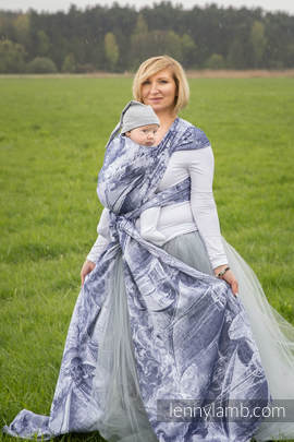 Baby Wrap, Jacquard Weave (100% cotton) - GALLEONS NAVY BLUE & WHITE - size XL