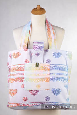 Shoulder bag made of wrap fabric (100% cotton) - RAINBOW LACE Reverse  - standard size 37cmx37cm