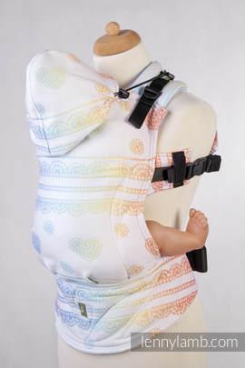 Nosidełko Ergonomiczne z tkaniny żakardowej 100% bawełna , Baby Size, TĘCZOWA KORONKA Rewers - Druga Generacja