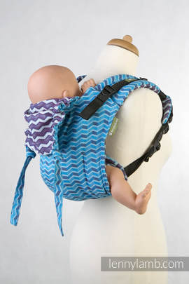 Lenny Buckle Onbuhimo, standard size, jacquard weave (100% cotton) - Wrap conversion from ZIGZAG TURQUOISE & PURPLE (grade B)
