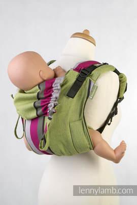 Lenny Buckle Onbuhimo Tragehilfe, Größe Toddler, Kreuzköper-Bindung (100% Baumwolle) - LIME & KHAKI