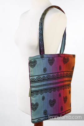 Shopping bag made of wrap fabric (100% cotton) - RAINBOW LACE  DARK