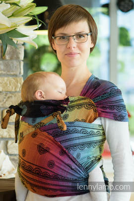 WRAP-TAI carrier Toddler with hood/ jacquard twill / 100% cotton / RAINBOW LACE DARK