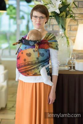 WRAP-TAI carrier Mini with hood/ jacquard twill / 100% cotton / RAINBOW LACE DARK