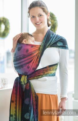 Żakardowa chusta do noszenia dzieci, bawełna - TĘCZOWA KORONKA DARK - rozmiar XL