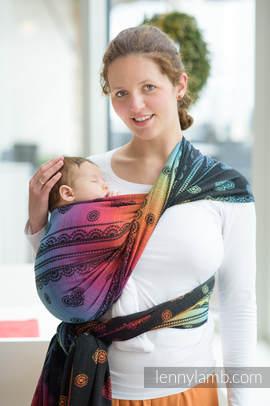 Baby Wrap, Jacquard Weave (100% cotton) - RAINBOW LACE DARK - size XL (grade B)