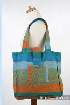 Shoulder bag made of wrap fabric (100% cotton) - LITTLE HERRINGBONE LANTANA - standard size 37cmx37cm