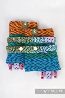 Drool Pads & Reach Straps Set, (100% cotton) - LITTLE HERRINGBONE LANTANA
