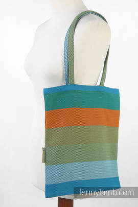 Shopping bag made of wrap fabric (100% cotton) - LITTLE HERRINGBONE LANTANA