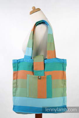 Shoulder bag made of wrap fabric (100% cotton) - LITTLE HERRINGBONE SUNFLOWER - standard size 37cmx37cm