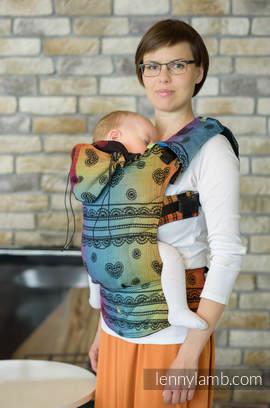 Nosidełko Ergonomiczne z tkaniny żakardowej 100% bawełna , Baby Size, TĘCZOWA KORONKA DARK - Druga Generacja