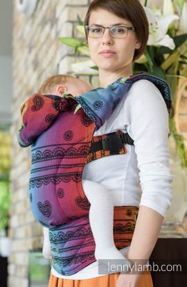 Nosidełko Ergonomiczne z tkaniny żakardowej 100% bawełna , Toddler Size, TĘCZOWA KORONKA  DARK- Druga Generacja