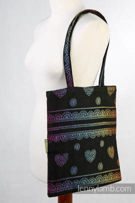 Shopping bag made of wrap fabric (100% cotton) - RAINBOW LACE  DARK REVERSE