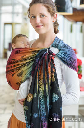 Ringsling, Jacquard Weave (100% cotton) - with gathered shoulder -  RAINBOW LACE DARK