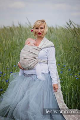 Żakardowa chusta do noszenia dzieci, 60% Bawełna 28% Len 12% Jedwab Tussah - PORCELANOWA KORONKA  - rozmiar S