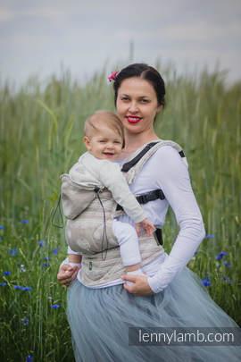 Nosidełko Ergonomiczne z tkaniny żakardowej 60% Bawełna 28% Len 12% Jedwab Tussah, Baby Size, PORCELANOWA KORONKA, Druga Generacja