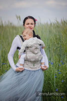 Ergonomic Carrier, Toddler Size, jacquard weave 60% cotton 28% linen 12% tussah silk - wrap conversion from PORCELAIN LACE, Second Generation