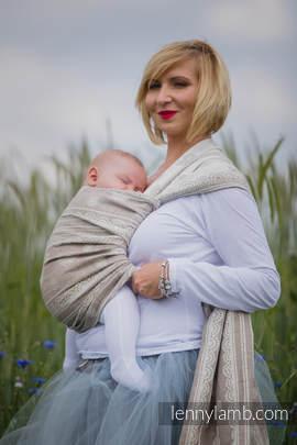 Żakardowa chusta do noszenia dzieci, 60% Bawełna 28% Len 12% Jedwab Tussah - PORCELANOWA KORONKA  - rozmiar L
