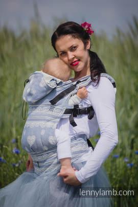 Nosidełko Ergonomiczne z tkaniny żakardowej 60% Bawełna 28% Len 12% Jedwab Tussah, Toddler Size, KRÓLEWSKA KORONKA Druga Generacja