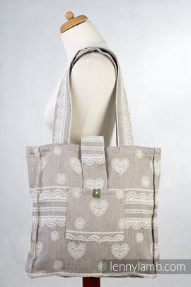 Shoulder bag made of wrap fabric (60% cotton, 28% linen 12% tussah silk) - PORCELAIN LACE - standard size 37cmx37cm