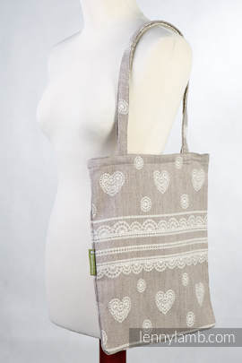 Shopping bag made of wrap fabric (60% cotton, 28% linen 12% tussah silk) - PORCELAIN LACE
