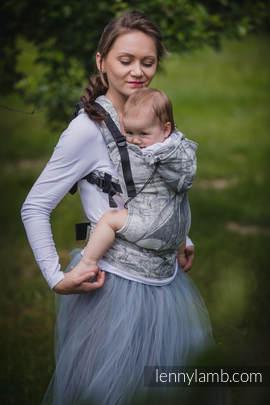 Nosidełko Ergonomiczne z tkaniny żakardowej 60% bawełna 40% len, Toddler Size, GALEONY LNIANE CZARNY Z KREMEM Druga Generacja