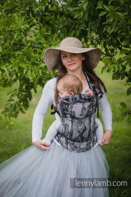 Ergonomic Carrier, Toddler Size, jacquard weave 60% cotton 40% linen - wrap conversion from LINEN TIME (without skull), Second Generation