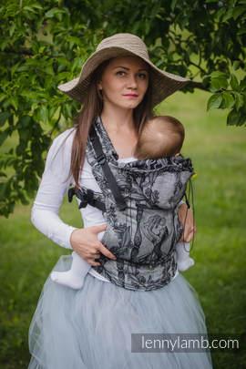 Nosidełko Ergonomiczne z tkaniny żakardowej 60% bawełna 40% len, Baby Size, CZAS LNIANY (bez czaszki), Druga Generacja