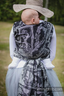Baby Wrap, Jacquard Weave (60% cotton, 40% linen) - LINEN TIME (without skull) - size L