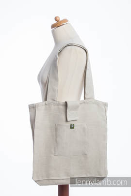 Shoulder bag made of wrap fabric (60% cotton, 40% linen) - LITTLE HERRINGBONE NATURE - standard size 37cmx37cm