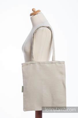 Shopping bag made of wrap fabric (60% cotton, 40% linen) - LITTLE HERRINGBONE NATURE