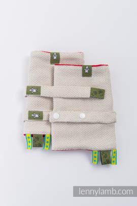 Drool Pads & Reach Straps Set, (60% cotton, 40% linen) - LITTLE HERRINGBONE NATURE RED