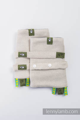 Drool Pads & Reach Straps Set, (60% cotton, 40% linen) - LITTLE HERRINGBONE NATURE