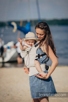 Ergonomic Carrier, Baby Size, herringbone weave 60% cotton 40% linen - wrap conversion from LITTLE HERRINGBONE NATURE, Second Generation