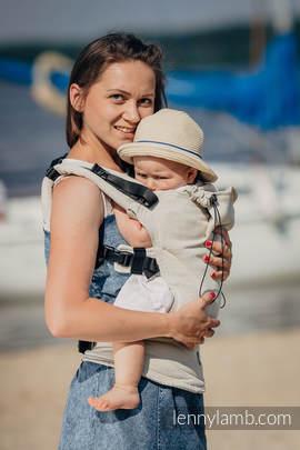 Ergonomic Carrier, Baby Size, jacquard weave 60% cotton 40% linen - wrap conversion from LITTLE HERRINGBONE NATURE, Second Generation (grade B)