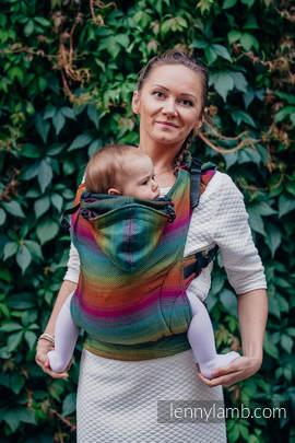 Ergonomic Carrier, Baby Size, herringbone weave 100% cotton - wrap conversion from LITTLE HERRINGBONE IMAGINATION DARK- Second Generation